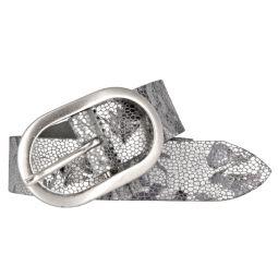 Vanzetti Damen Leder Gürtel Metallic Damengürtel 30 mm Ledergürtel mit floralem Print