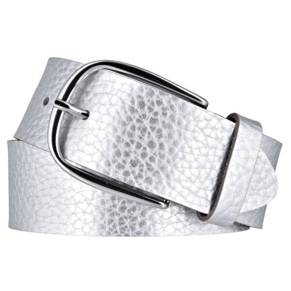 7eea713709984a Vanzetti Damen Leder Gürtel Rindleder Metallic Damengürtel silber metallic  40 mm Ledergürtel ...