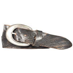 Silbergift Damengürtel Echt Leder 35mm Schwarz Metallic