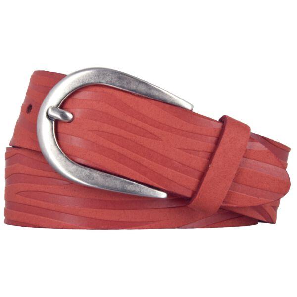 Bernd Götz Gürtel Damen Leder 35 mm Veloursleder Rot kürzbar Damengürtel Ledergürtel