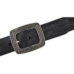 Vanzetti Damengürtel schwarz Vollleder mit großer Schließe 40 mm