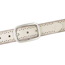 Mustang Damen Leder Gürtel Ledergürtel 35 mm creme Veloursleder