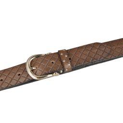 "b.belt Damen Ledergürtel 35 mm ""Liana gold"" mit goldener Dornnschließe"