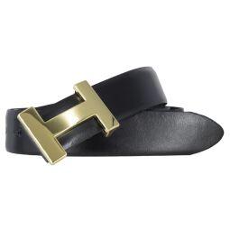 Silbergift Damengürtel schwarz 30 mm mit goldfarbener Designschließe
