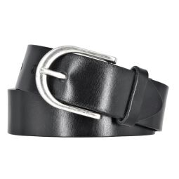 Vanzetti Damen Leder Gürtel Belt Ledergürtel Damengürtel Schwarz 35mm Eindornschließe 100 cm
