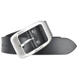 Tom Tailor Damen Leder Gürtel Belt Ledergürtel Rindleder used Schwarz 40mm Eindornschließe 100 cm