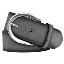 Damengürtel Ledergürtel Mustang anthrazit schwarz 40mm 80 cm