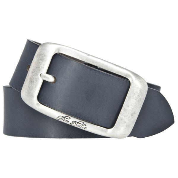 Tom Tailor Damen Leder Gürtel Belt Ledergürtel Rindleder used Blau 40mm Eindornschließe 105 cm
