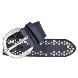 Vanzetti Damen Leder Nieten Gürtel Belt Ledergürtel Damengürtel marine 40mm mit Airbrushkanten 90 cm