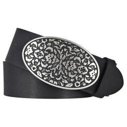 TOM TAILOR Damen Leder Gürtel Rindleder soft vintage schwarz 40 mm Koppel Damengürtel 80