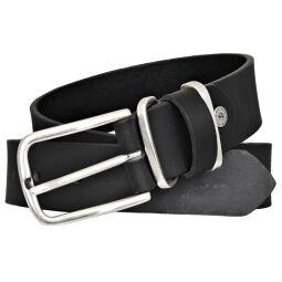 TOM TAILOR Herren Leder Gürtel Vollrindleder schwarz 35 mm kürzbar Herrengürtel mit Metallschlaufen