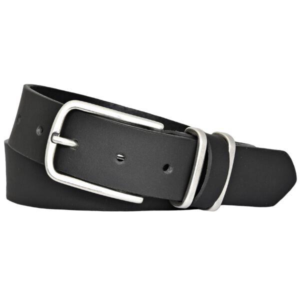 TOM TAILOR Herren Leder Gürtel Vollrindleder schwarz 35 mm kürzbar Herrengürtel mit Metallschlaufen 110