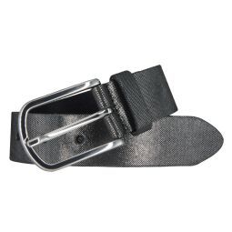 Vanzetti Damen Leder Gürtel Rindleder Damengürtel schwarz silbermetallic 35 mm
