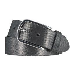 Vanzetti Damen Leder Gürtel Rindleder Damengürtel schwarz silbermetallic 35 mm 90