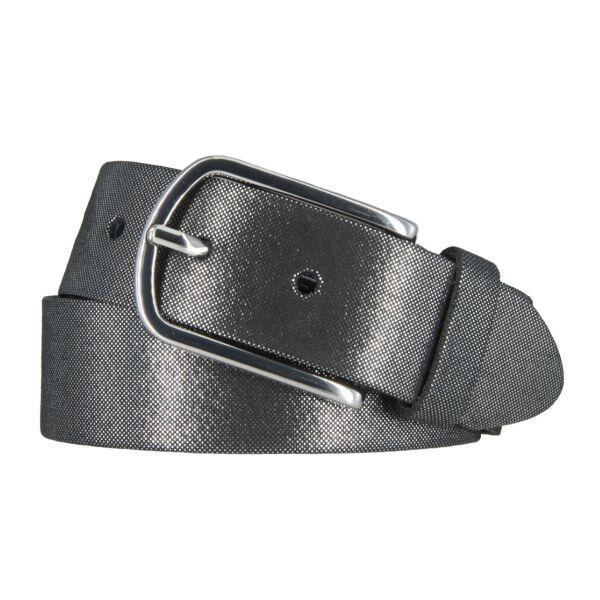 Vanzetti Damen Leder Gürtel Rindleder Damengürtel schwarz silbermetallic 35 mm 100