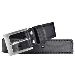 Bovino by Bernd Götz Herren Leder Gürtel 35 mm breit schwarz Stretchgürtel mit Lederapplikation 110