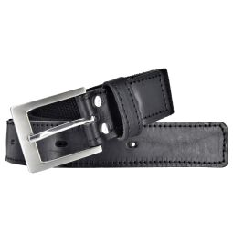 Bovino by Bernd Götz Herren Leder Gürtel 35 mm breit schwarz Stretchgürtel mit Lederapplikation 115
