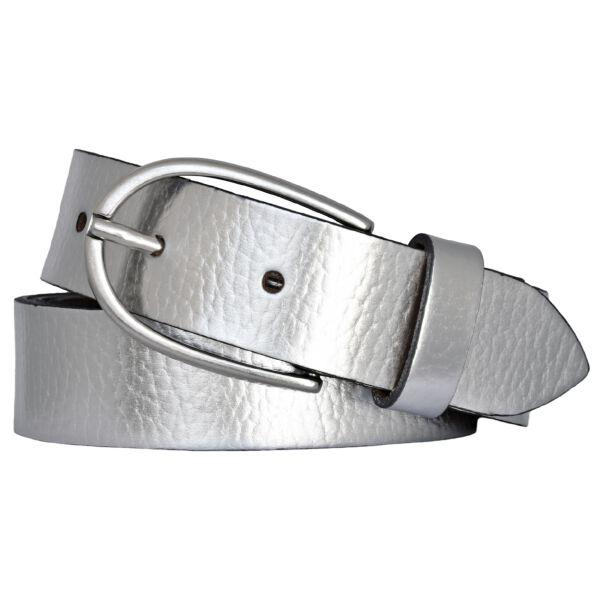 Vanzetti Damen Leder Gürtel Rindleder Metallic Damengürtel silber 30 mm Ledergürtel