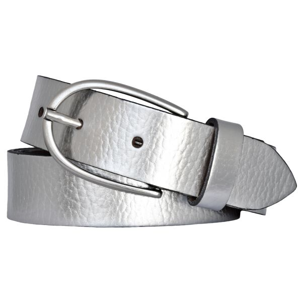 Vanzetti Damen Leder Gürtel Rindleder Metallic Damengürtel silber 30 mm Ledergürtel 80