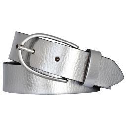 Vanzetti Damen Leder Gürtel Rindleder Metallic Damengürtel silber 30 mm Ledergürtel 105