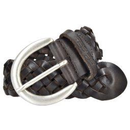 Tom Tailor Damen Leder Gürtel Ledergürtel weiches Vollrindleder braun 40mm Damengürtel geflochten 95