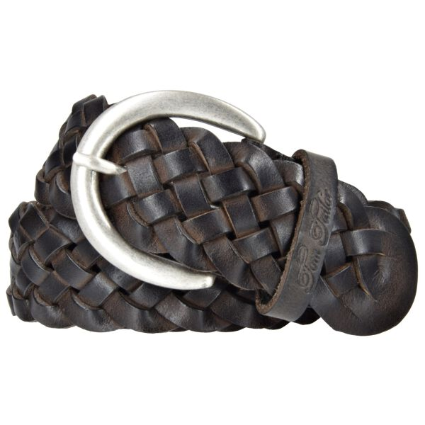 Tom Tailor Damen Leder Gürtel Ledergürtel weiches Vollrindleder braun 40mm Damengürtel geflochten 105