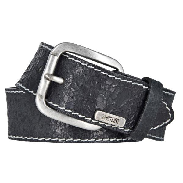 Mustang Herren Vintage Leder Gürtel Ledergürtel Herrengürtel 40 mm schwarz