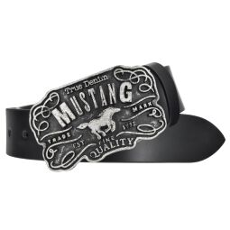 Mustang Herren Leder Gürtel Ledergürtel Herrengürtel 40 mm schwarz kürzbar Vintage Koppelschließe