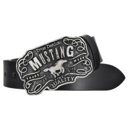 Mustang Herren Leder Gürtel Ledergürtel Herrengürtel 40 mm schwarz kürzbar Vintage Koppelschließe 90