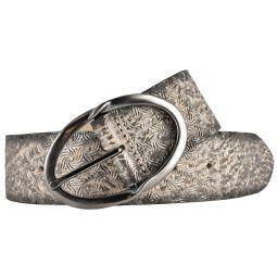 Bernd Götz Damen Leder Gürtel 40 mm beige-silber Metallicleder gewalkt Ledergürtel