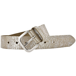 TOM TAILOR Damen Leder Gürtel 35mm used silver-metallic look Vollrindleder Damengürtel
