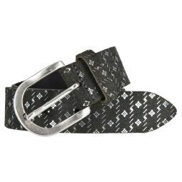 Tom Tailor Damen Gürtel 35 mm schwarz Ledergürtel Metallic Print