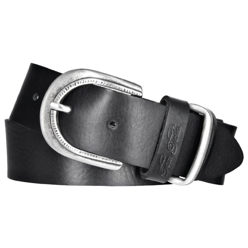 TOM TAILOR Damen Leder Gürtel schwarz 30 mm Rindleder Damengürtel Koppelschließe
