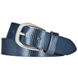 TOM TAILOR Damen Leder Gürtel blau metallic 30 mm...