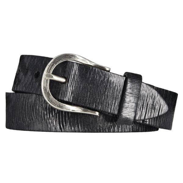 Vanzetti Damen Leder Gürtel Vollrindleder Metallicfinish Damengürtel schwarz 30